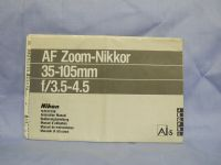 Nikon AF Zoom Nikkor 35-105mm -ORIGINAL MAKERS- Instructions £2.49